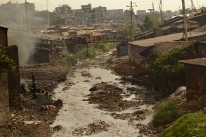 Polluted Mathare River.