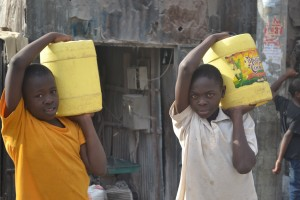 Carrying water.