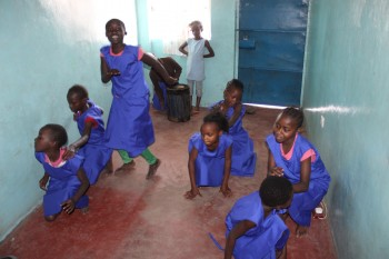 Girls from Mathare Foundation practice dancing